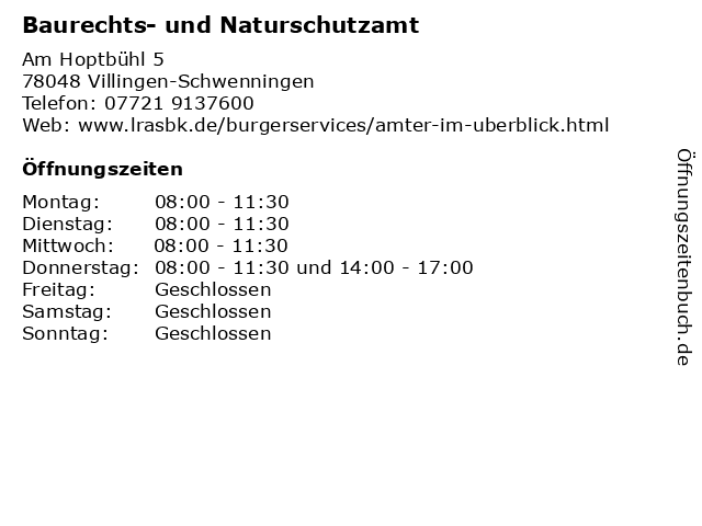 Baurechts- und Naturschutzamt in Villingen-Schwenningen: Adresse und Öffnungszeiten