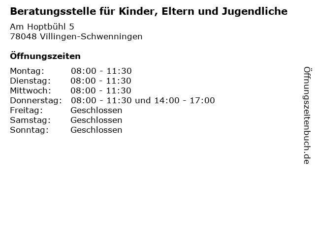 Beratungsstelle für Kinder, Eltern und Jugendliche in Villingen-Schwenningen: Adresse und Öffnungszeiten