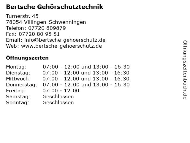 Bertsche Gehörschutztechnik in Villingen-Schwenningen: Adresse und Öffnungszeiten