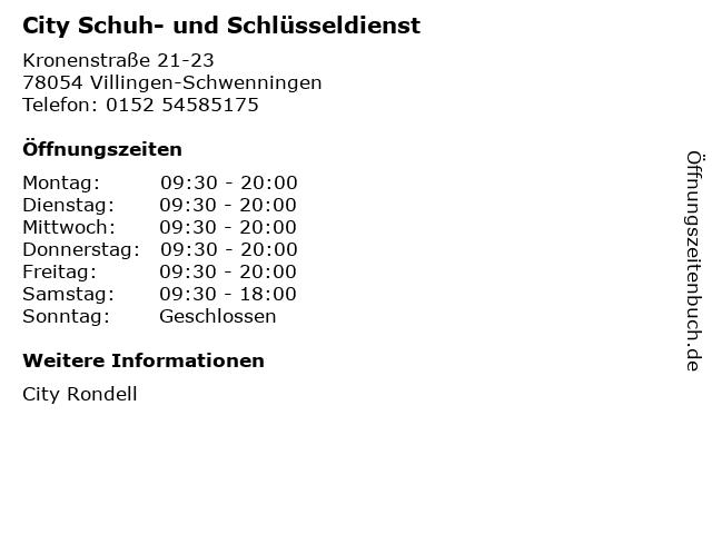 City Schuh- und Schlüsseldienst in Villingen-Schwenningen: Adresse und Öffnungszeiten