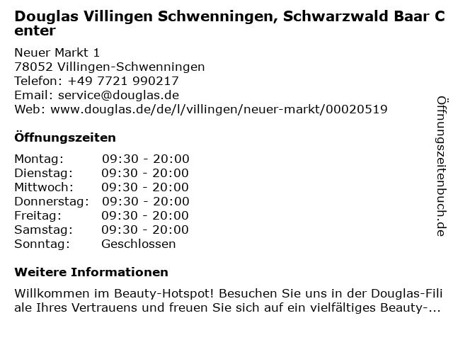 Douglas Villingen Schwenningen, Schwarzwald Baar Center in Villingen-Schwenningen: Adresse und Öffnungszeiten