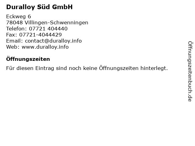 Duralloy Süd GmbH in Villingen-Schwenningen: Adresse und Öffnungszeiten