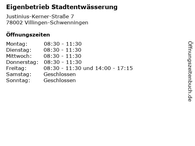 Eigenbetrieb Stadtentwässerung in Villingen-Schwenningen: Adresse und Öffnungszeiten
