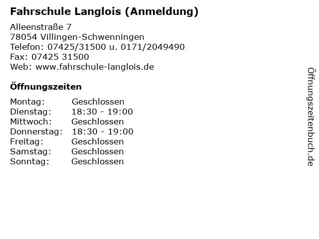 Fahrschule Langlois (Anmeldung) in Villingen-Schwenningen: Adresse und Öffnungszeiten
