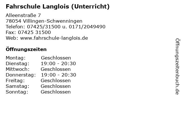 Fahrschule Langlois (Unterricht) in Villingen-Schwenningen: Adresse und Öffnungszeiten