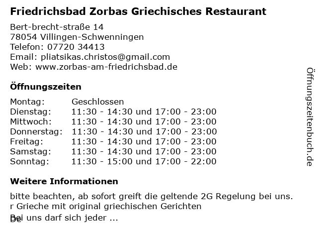 Friedrichsbad Zorbas Griechisches Restaurant in Villingen-Schwenningen: Adresse und Öffnungszeiten