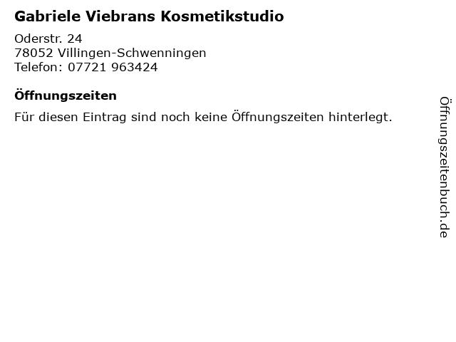 Gabriele Viebrans Kosmetikstudio in Villingen-Schwenningen: Adresse und Öffnungszeiten