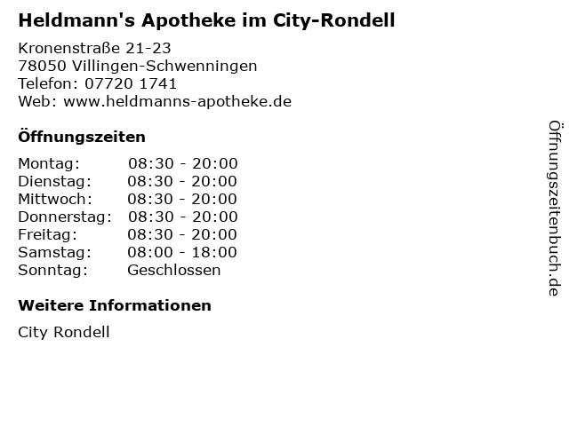 Heldmann's Apotheke im City-Rondell in Villingen-Schwenningen: Adresse und Öffnungszeiten