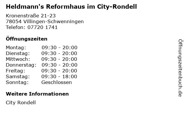 Heldmann's Reformhaus im City-Rondell in Villingen-Schwenningen: Adresse und Öffnungszeiten