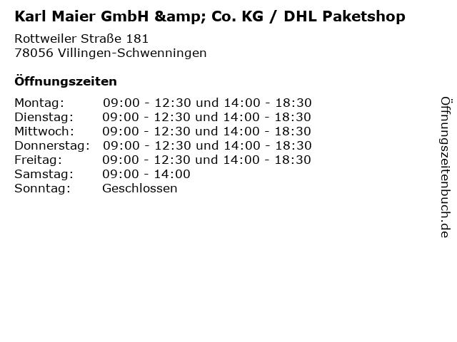 Karl Maier GmbH & Co. KG / DHL Paketshop in Villingen-Schwenningen: Adresse und Öffnungszeiten