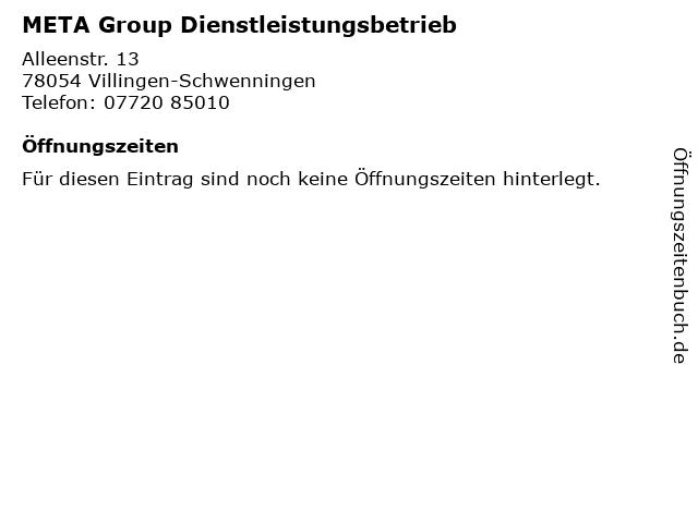 META Group Dienstleistungsbetrieb in Villingen-Schwenningen: Adresse und Öffnungszeiten
