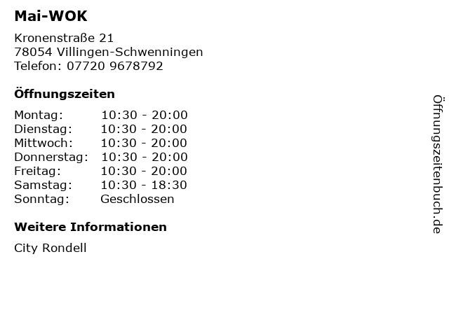 Mai-WOK in Villingen-Schwenningen: Adresse und Öffnungszeiten