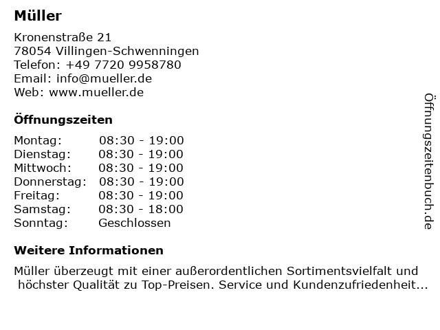 Müller in Villingen-Schwenningen: Adresse und Öffnungszeiten