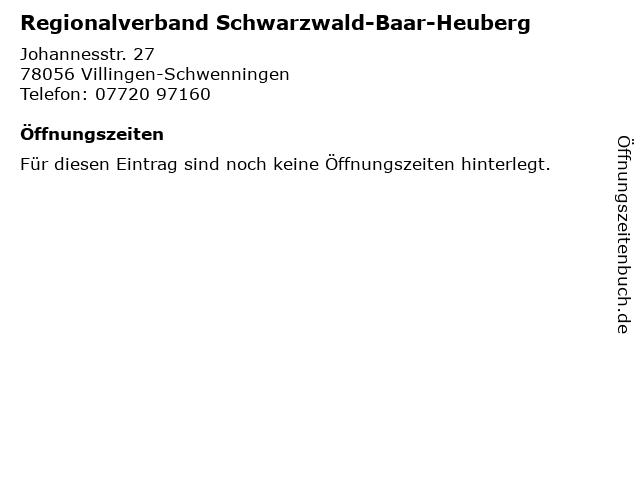 Regionalverband Schwarzwald-Baar-Heuberg in Villingen-Schwenningen: Adresse und Öffnungszeiten
