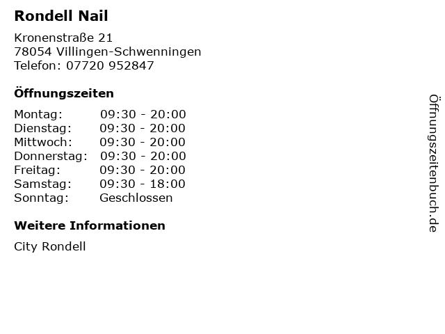 Rondell Nail in Villingen-Schwenningen: Adresse und Öffnungszeiten