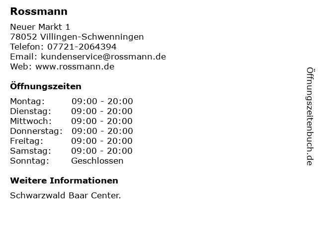 Rossmann in Villingen-Schwenningen: Adresse und Öffnungszeiten