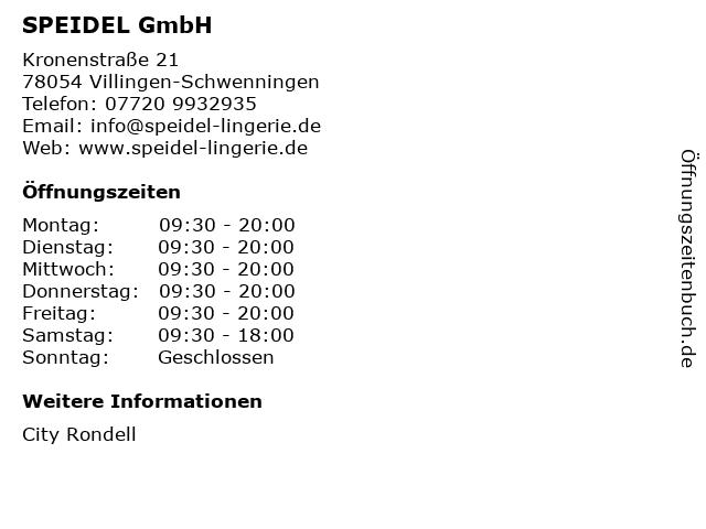 SPEIDEL GmbH in Villingen-Schwenningen: Adresse und Öffnungszeiten
