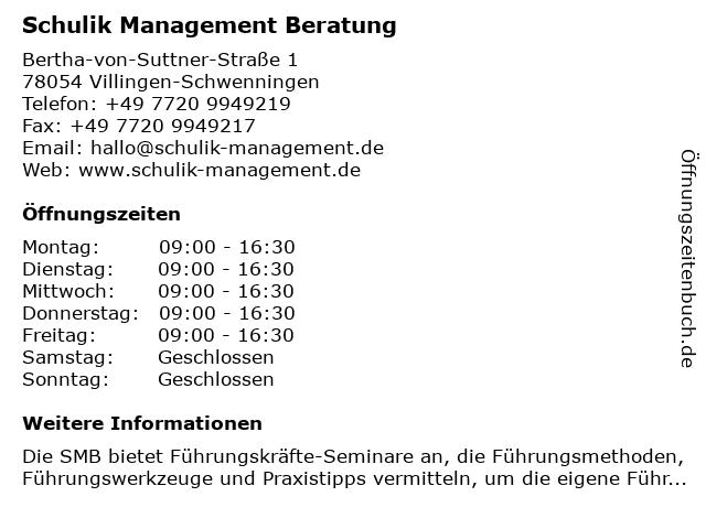 Schulik Management Beratung in Villingen-Schwenningen: Adresse und Öffnungszeiten