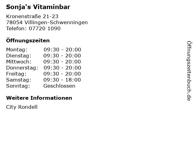 Sonja's Vitaminbar in Villingen-Schwenningen: Adresse und Öffnungszeiten