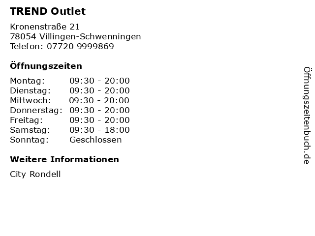 TREND Outlet in Villingen-Schwenningen: Adresse und Öffnungszeiten