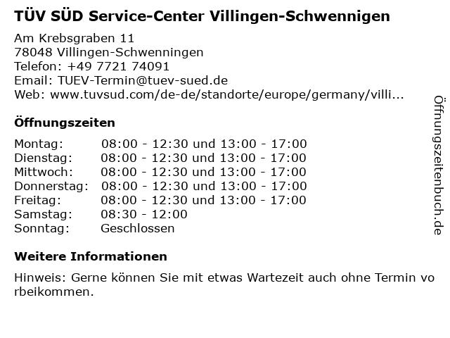 TÜV SÜD Service-Center Villingen-Schwennigen in Villingen-Schwenningen: Adresse und Öffnungszeiten