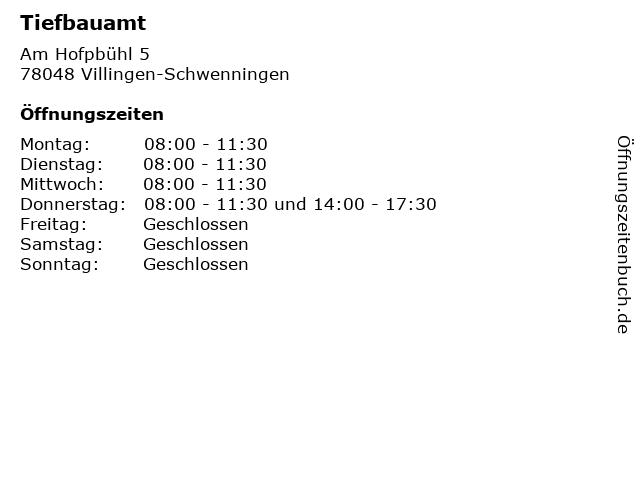 Tiefbauamt in Villingen-Schwenningen: Adresse und Öffnungszeiten