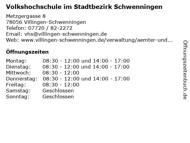 Volkshochschule im Stadtbezirk Schwenningen in Villingen-Schwenningen: Adresse und Öffnungszeiten