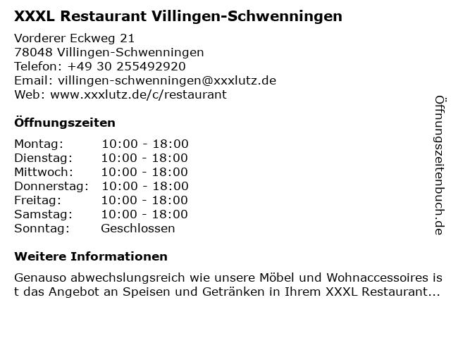XXXL Restaurant Villingen-Schwenningen in Villingen-Schwenningen: Adresse und Öffnungszeiten