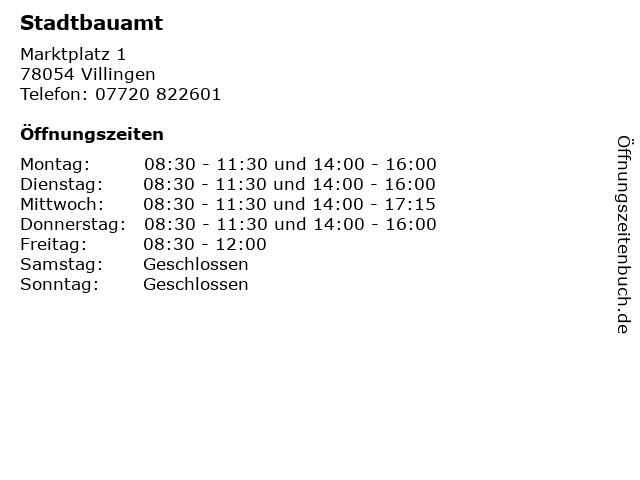 Stadtbauamt in Villingen: Adresse und Öffnungszeiten