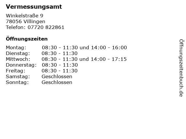 Vermessungsamt in Villingen: Adresse und Öffnungszeiten