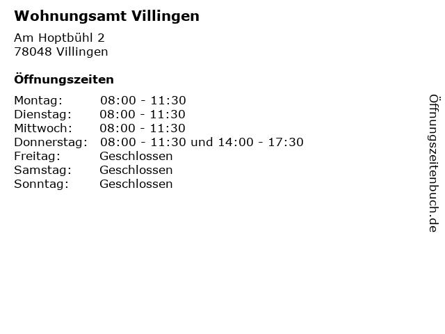 Wohnungsamt Villingen in Villingen: Adresse und Öffnungszeiten