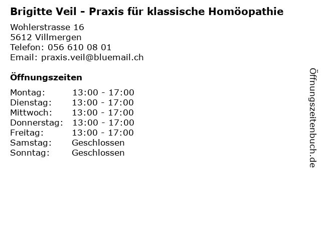 Brigitte Veil - Praxis für klassische Homöopathie in Villmergen: Adresse und Öffnungszeiten