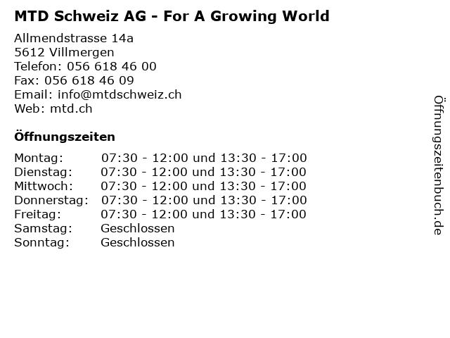 MTD Schweiz AG - For A Growing World in Villmergen: Adresse und Öffnungszeiten