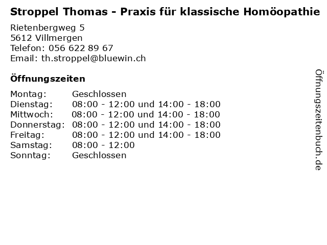 Stroppel Thomas - Praxis für klassische Homöopathie in Villmergen: Adresse und Öffnungszeiten