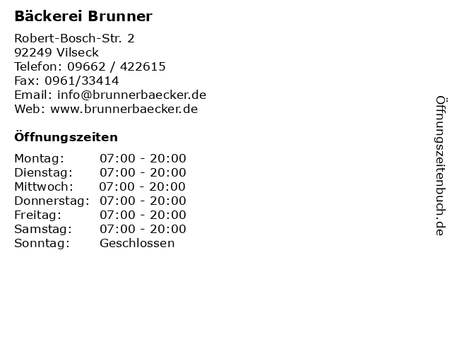 Bäckerei Brunner in Vilseck: Adresse und Öffnungszeiten