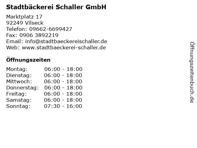Stadtbäckerei Schaller GmbH in Vilseck: Adresse und Öffnungszeiten