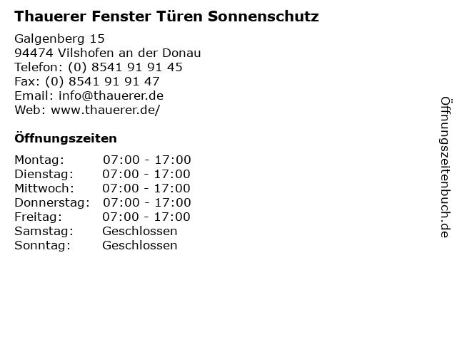 Thauerer Fenster Türen Sonnenschutz in Vilshofen an der Donau: Adresse und Öffnungszeiten