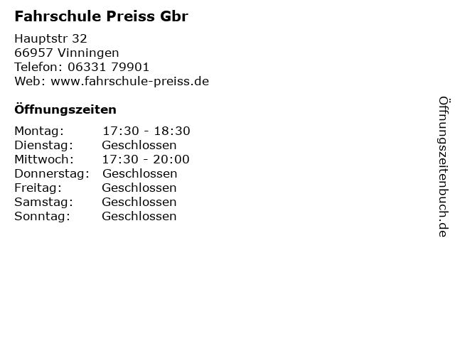 Fahrschule Preiss Gbr in Vinningen: Adresse und Öffnungszeiten