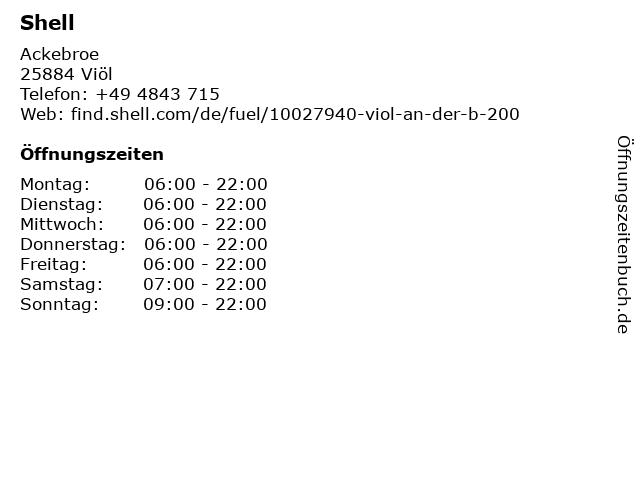 Shell Station in Viöl: Adresse und Öffnungszeiten