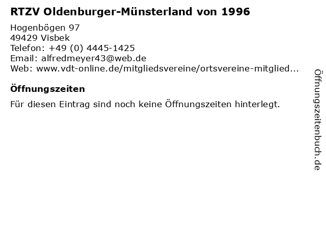 RTZV Oldenburger-Münsterland von 1996 in Visbek: Adresse und Öffnungszeiten