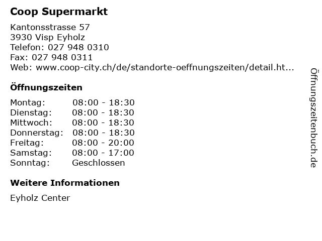Coop Supermarkt in Visp Eyholz: Adresse und Öffnungszeiten