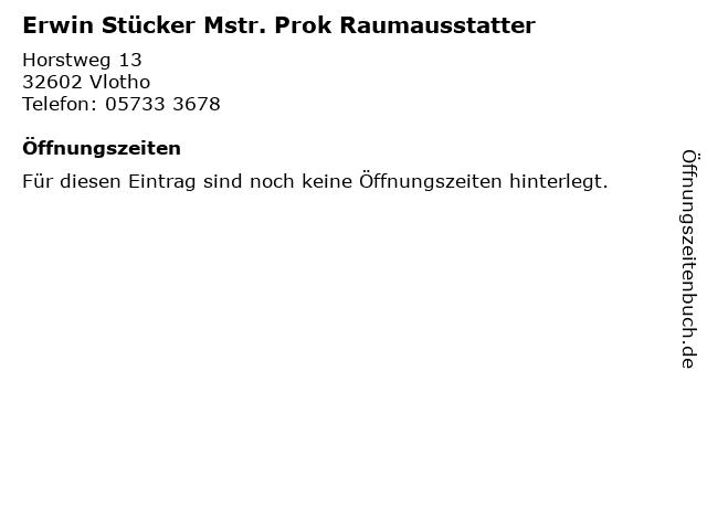 Erwin Stücker Mstr. Prok Raumausstatter in Vlotho: Adresse und Öffnungszeiten