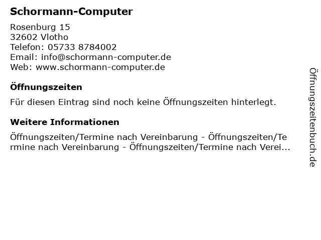Schormann-Computer in Vlotho: Adresse und Öffnungszeiten