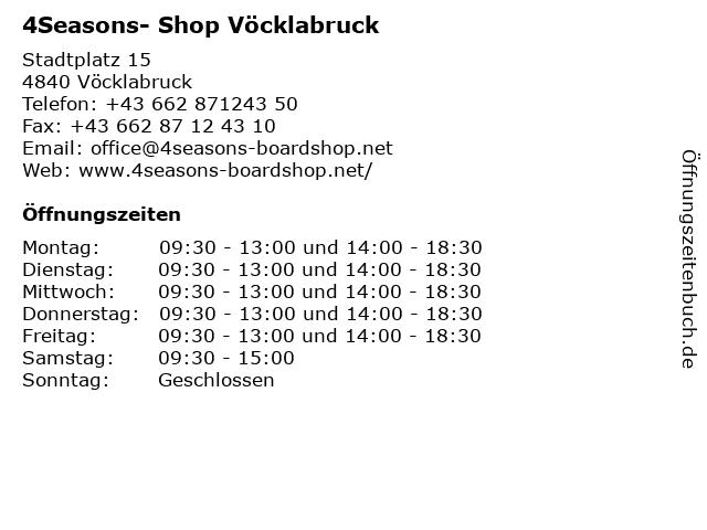 4Seasons- Shop Vöcklabruck in Vöcklabruck: Adresse und Öffnungszeiten