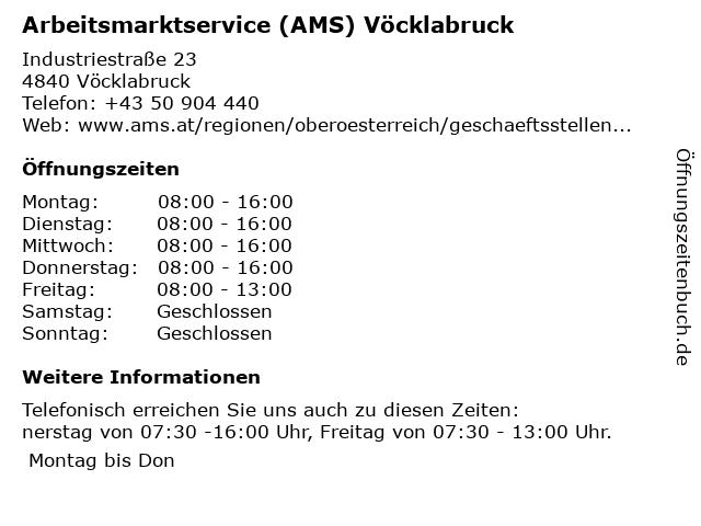 AMS Vöcklabruck - Service für Arbeitsuchende in Vöcklabruck: Adresse und Öffnungszeiten