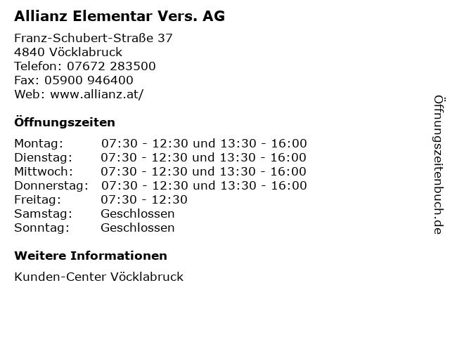 Allianz Elementar Vers. AG in Vöcklabruck: Adresse und Öffnungszeiten