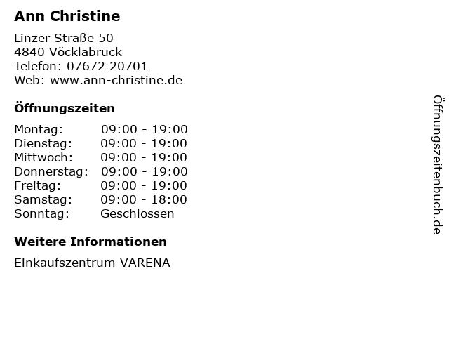 Ann Christine in Vöcklabruck: Adresse und Öffnungszeiten