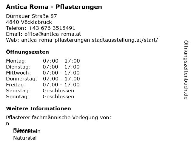 Antica Roma - Pflasterungen in Vöcklabruck: Adresse und Öffnungszeiten