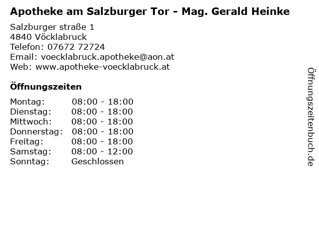 Apotheke am Salzburger Tor - Mag. Gerald Heinke in Vöcklabruck: Adresse und Öffnungszeiten