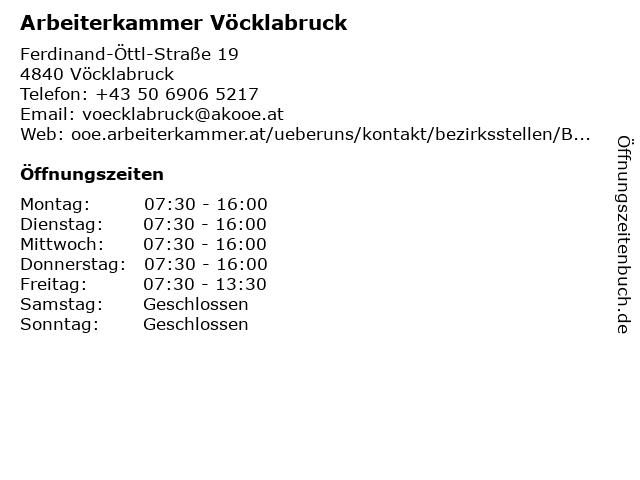 Arbeiterkammer Vöcklabruck in Vöcklabruck: Adresse und Öffnungszeiten